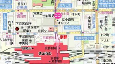 品川美容外科 京都院地図